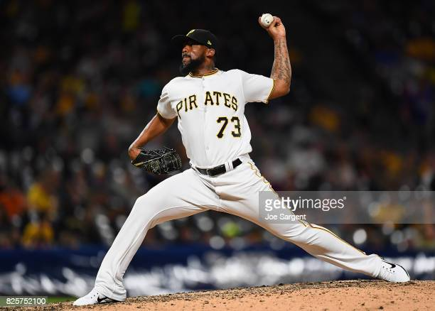 Felipe Rivero of the Pittsburgh Pirates pitches during the ninth inning against the Cincinnati Reds at PNC Park on August 2 2017 in Pittsburgh...