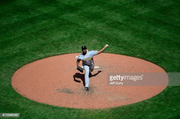 Felipe Rivero of the Pittsburgh Pirates pitches during the seventh inning against the St Louis Cardinals at Busch Stadium on April 19 2017 in St...