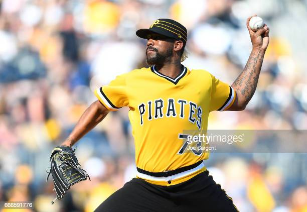 Felipe Rivero of the Pittsburgh Pirates pitches during the tenth inning against the Atlanta Braves at PNC Park on April 9 2017 in Pittsburgh...