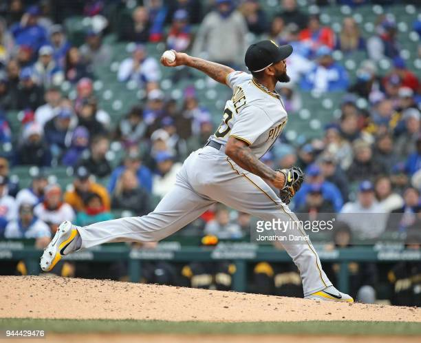 Felipe Rivero of the Pittsburgh Pirates pitches in the 9th inning against the Chicago Cubs during the Opening Day home game at Wrigley Field on April...