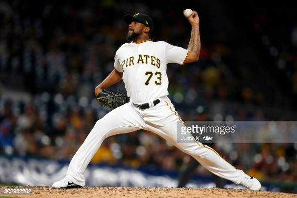 Felipe Rivero of the Pittsburgh Pirates pitches in the ninth inning against the Tampa Bay Rays during interleague play at PNC Park on June 28 2017 in...