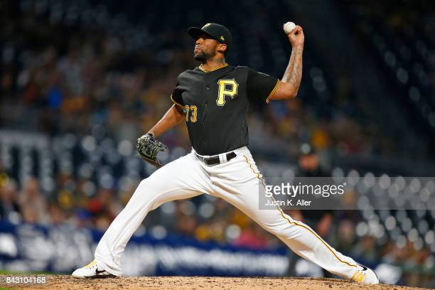 Felipe Rivero of the Pittsburgh Pirates pitches in the ninth inning against the Chicago Cubs at PNC Park on September 5 2017 in Pittsburgh...