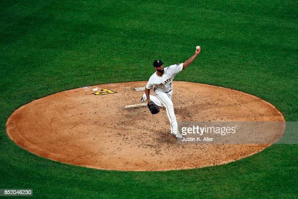 Felipe Rivero of the Pittsburgh Pirates pitches in the ninth inning against the St Louis Cardinals at PNC Park on September 22 2017 in Pittsburgh...