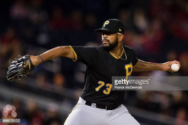 Felipe Rivero of the Pittsburgh Pirates pitches in the ninth inning against the Washington Nationals at Nationals Park on September 30 2017 in...