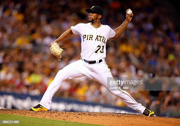 Felipe Rivero of the Pittsburgh Pirates pitches in the seventh inning during the game against the Cincinnati Reds at PNC Park on August 5 2016 in...