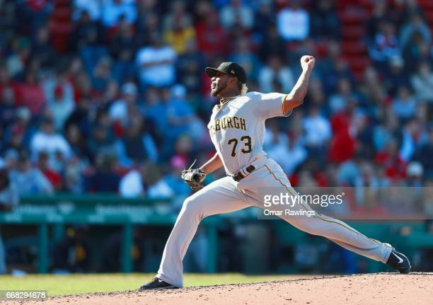 Felipe Rivero of the Pittsburgh Pirates pitches in the seventh inning against the Boston Red Sox on April 13 2017 at Fenway Park Boston Massachuetts