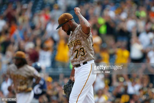 Felipe Rivero of the Pittsburgh Pirates reacts after closing out the ninth inning defeating the Milwaukee Brewers 42 at PNC Park on July 20 2017 in...