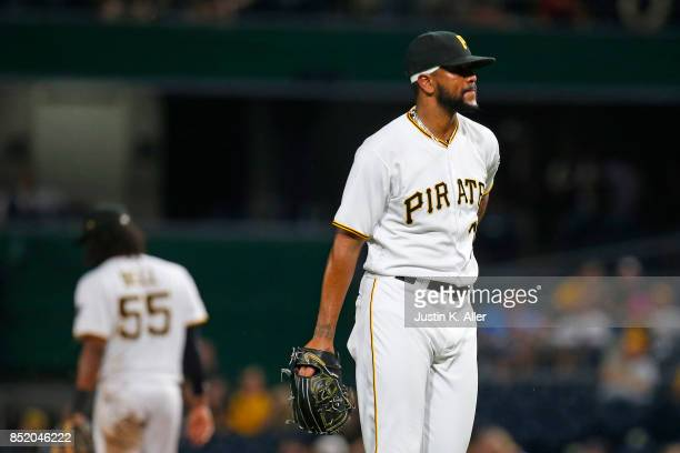 Felipe Rivero of the Pittsburgh Pirates reacts after giving up the game winning run in the ninth inning against the St Louis Cardinals at PNC Park on...