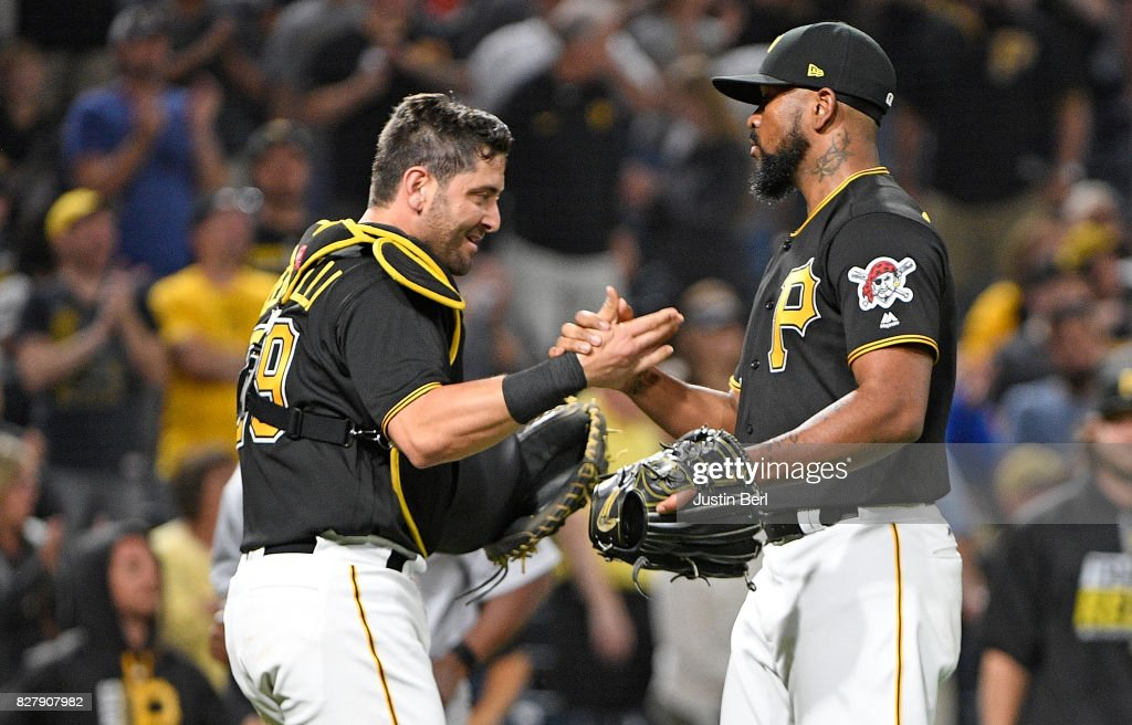 Felipe Rivero #73 of the Pittsburgh Pirates shakes hands with Francisco Cervelli #29 after the final out in their 6-3 win over the Detroit Tigers at PNC Park on August 8, 2017 in Pittsburgh, Pennsylvania.