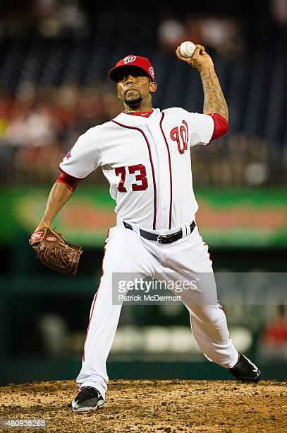 Felipe Rivero of the Washington Nationals throws a pitch to a Cincinnati Reds batter in the ninth inning of a baseball game at Nationals Park on July...