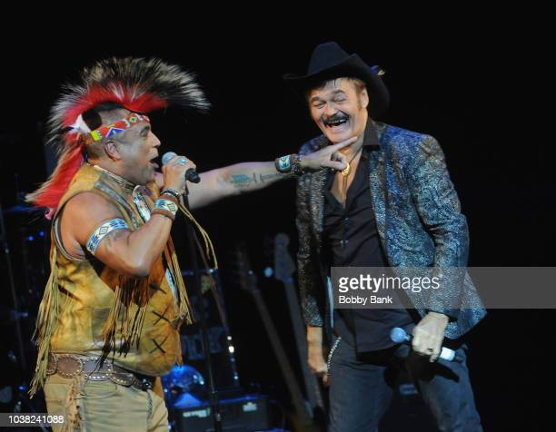 Felipe Rose and Randy Jones of The Village People reunite on stage at Disco Fever 2018 at the St George Theatre on September 22 2018 in Staten Island...