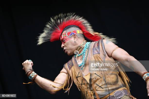 Felipe Rose of Disco group the Village People performs on stage during Punchestown Music Festival at Punchestown Racecourse on July 29 2017 in Naas...