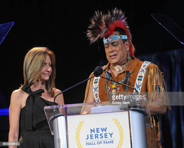 Felipe Rose of The Village People and First Lady Tammy Murphy attend the 2018 New Jersey Hall Of Fame Induction Ceremony at Asbury Park Convention...