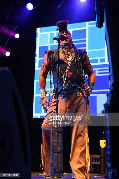 Felipe Rose of Village People performs during day 4 of the Super Bowl Village on January 30 2012 in Indianapolis Indiana