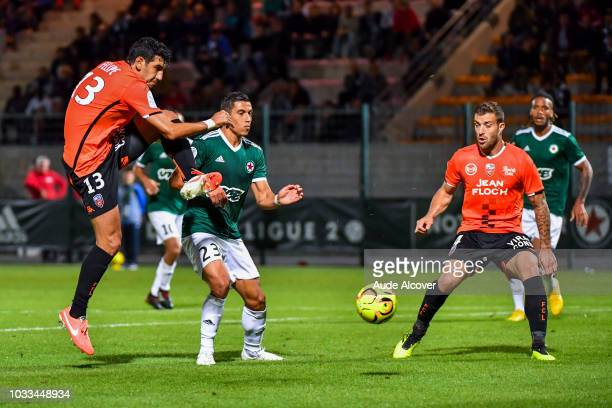 Felipe Saad of Lorient Jordan Faucher of Red Star and Joris Sainati of Lorient during the French Ligue 2 match between Red star and Lorient at Stade...