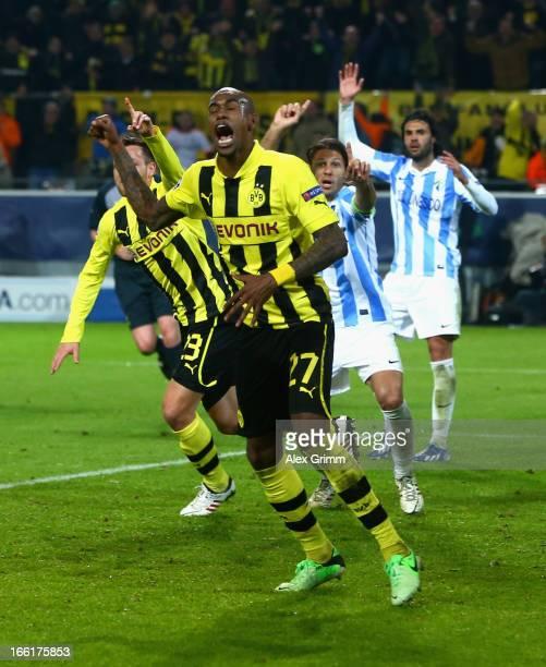 Felipe Santana of Borussia Dortmund celebrates scoring their third and winning goal during the UEFA Champions League quarterfinal second leg match...