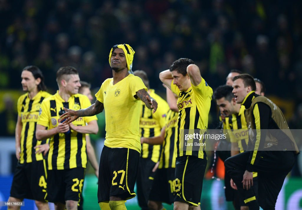 Felipe Santana of Borussia Dortmund celebrates victory after scoring the third and winning goal that puts his team into the semi-finals during the UEFA Champions League quarter-final second leg match between Borussia Dortmund and Malaga at Signal Iduna Park on April 9, 2013 in Dortmund, Germany.