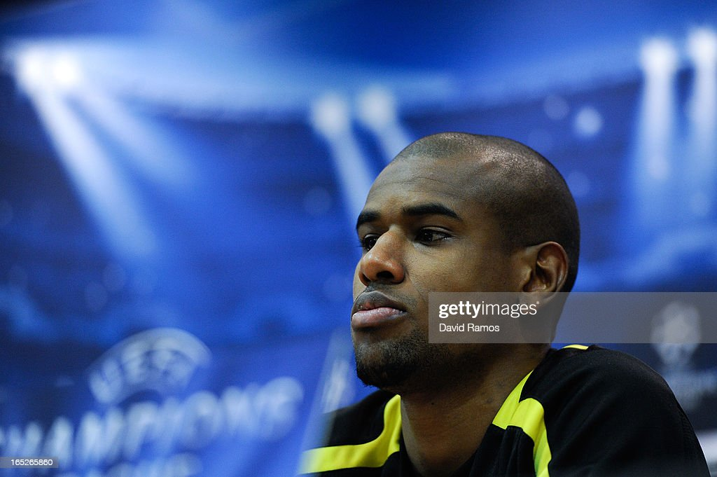 Felipe Santana of Borussia Dortmund faces the media during a press conference ahead of the UEFA Champions League quarter-final first leg match against Malaga CF at La Rosaleda Stadium on April 2, 2013 in Malaga, Spain.