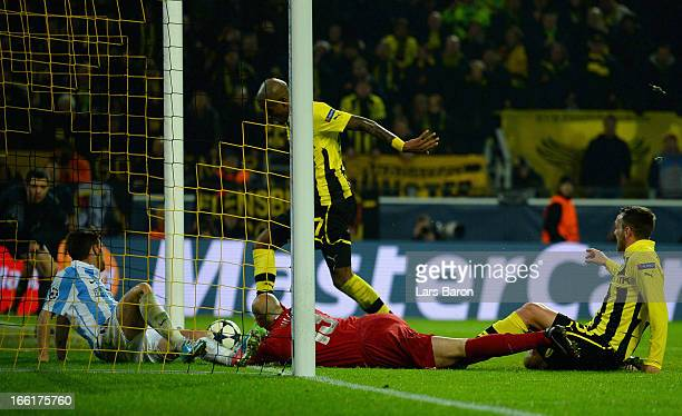 Felipe Santana of Borussia Dortmund scores their third and winning goal during the UEFA Champions League quarterfinal second leg match between...