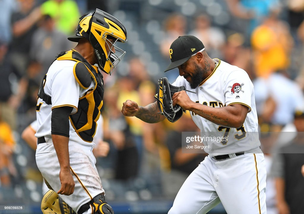 Felipe Vazquez #73 celebrates with Elias Diaz #32 of the Pittsburgh Pirates after a 3-2 win over the Chicago White Sox during inter-league play at PNC Park on May 16, 2018 in Pittsburgh, Pennsylvania.
