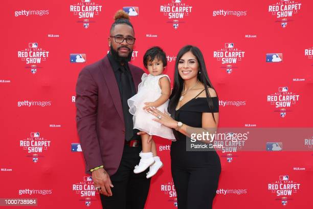 Felipe Vazquez of the Pittsburgh Pirates and the National League attends the 89th MLB AllStar Game presented by MasterCard red carpet with guests at...
