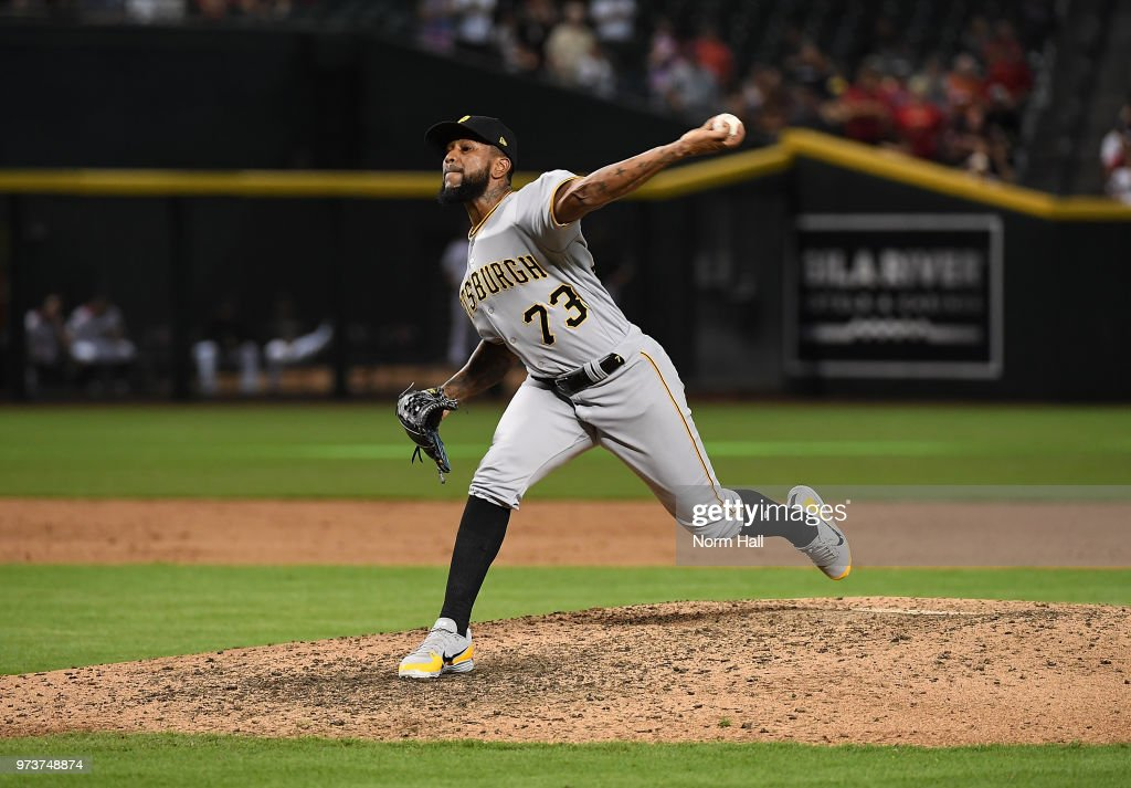 Felipe Vazquez #73 of the Pittsburgh Pirates delivers a ninth inning pitch against the Arizona Diamondbacks at Chase Field on June 13, 2018 in Phoenix, Arizona. Pirates won 5-4.