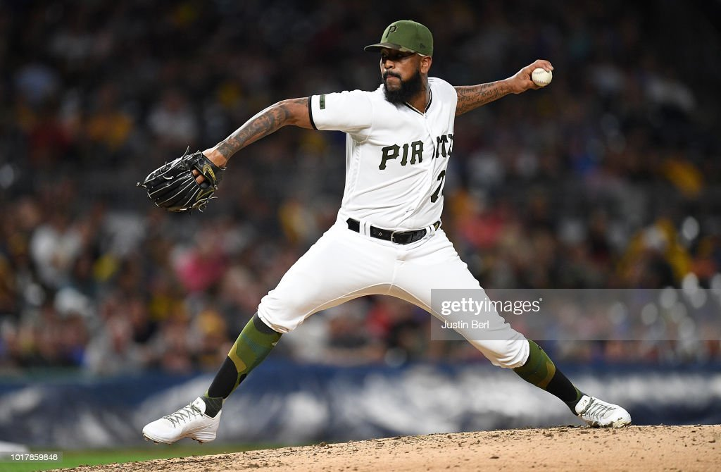 Felipe Vazquez #73 of the Pittsburgh Pirates delivers a pitch in the ninth inning during the game against the Chicago Cubs at PNC Park on August 16, 2018 in Pittsburgh, Pennsylvania.