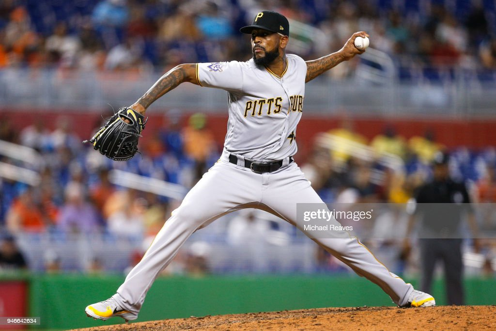 Felipe Vazquez #73 of the Pittsburgh Pirates delivers a pitch in the ninth inning against the Miami Marlins at Marlins Park on April 15, 2018 in Miami, Florida. All players are wearing #42 in honor of Jackie Robinson Day.