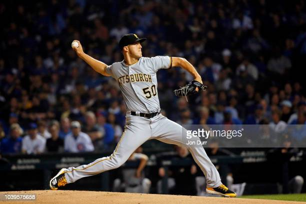 Felipe Vazquez of the Pittsburgh Pirates pitches against the Chicago Cubs during the ninth inning at Wrigley Field on September 24 2018 in Chicago...