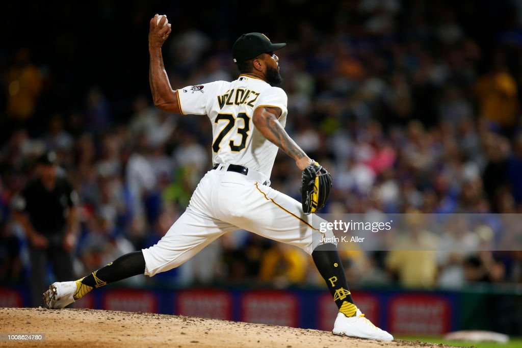 Felipe Vazquez #73 of the Pittsburgh Pirates pitches in the ninth inning against the Chicago Cubs at PNC Park on July 31, 2018 in Pittsburgh, Pennsylvania.
