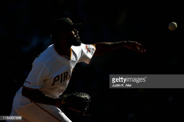 Felipe Vazquez of the Pittsburgh Pirates pitches in the ninth inning against the St. Louis Cardinals at the home opener at PNC Park on April 1, 2019...