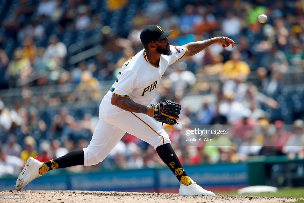 Felipe Vazquez #73 of the Pittsburgh Pirates pitches in the ninth inning against the Washington Nationals at PNC Park on July 11, 2018 in Pittsburgh, Pennsylvania.