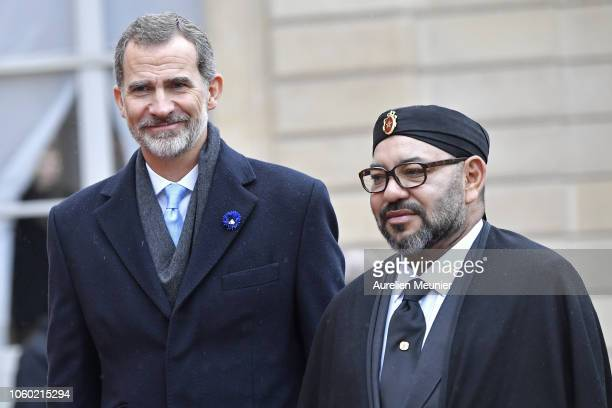 Felipe VI King of Spain and Mohammed VI King of Morocco arrive for a lunch hosted by French President Emmanuel Macron for the commemoration of the...