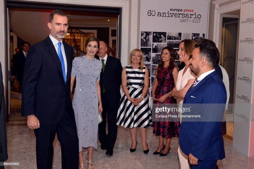 Felipe VI of Spain, Queen Letizia of Spain King, Camino Paniagua, Blanca Ulibarri, Dolores Muriel and Marcial Rodriguez attend Europa Press news agency 60th Anniversary at the Villa Magna hotel on May 30, 2017 in Madrid, Spain.