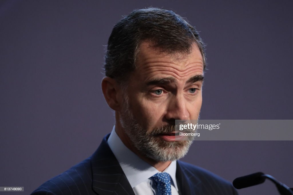 Felipe VI, Spain's king, speaks at a UK-Spain Business Forum at Mansion House in London, U.K., on Thursday, July 13, 2017. British diplomats are brushing over a century of conflict and one attempted invasion as they seek to bolster ties with Spain in the midst of the Brexit negotiations. Photographer: Simon Dawson/Bloomberg via Getty Images