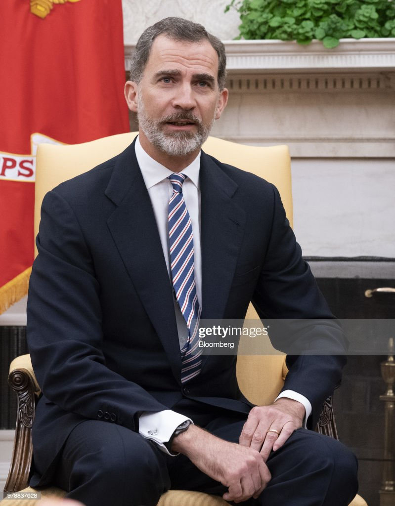 Felipe VI, Spain's king, speaks during a meeting with U.S. President Donald Trump, not pictured, in the Oval Office of the White House in Washington, D.C., U.S., on Tuesday, June 19, 2018. King Felipe and Queen Letizia are beginning a visit to the U.S., celebrating the 300th anniversaries of the founding of New Orleans and San Antonio. Photographer: Chris Kleponis/Pool via Bloomberg