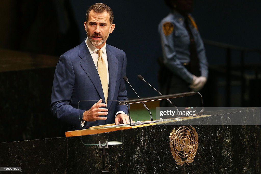 Felipe VI, the King of Spain,speaks at the 69th Session of the United Nations General Assembly at United Nations Headquarters on September 24, 2014 in New York City. World leaders, activists and protesters have converged on New York City for the annual UN event that brings together the global leaders for a week of meetings and conferences. This year's General Assembly has highlighted the problem of global warming and how countries need to strive to reduce greenhouse gas emissions.