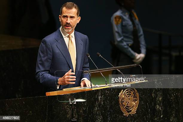 Felipe VI the King of Spainspeaks at the 69th Session of the United Nations General Assembly at United Nations Headquarters on September 24 2014 in...