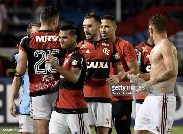 Felipe Vizeu Federico Mancuello Miguel Trauco and Gustavo Cuellar of Flamengo celebrate after winning a second leg match between Junior and Flamengo...