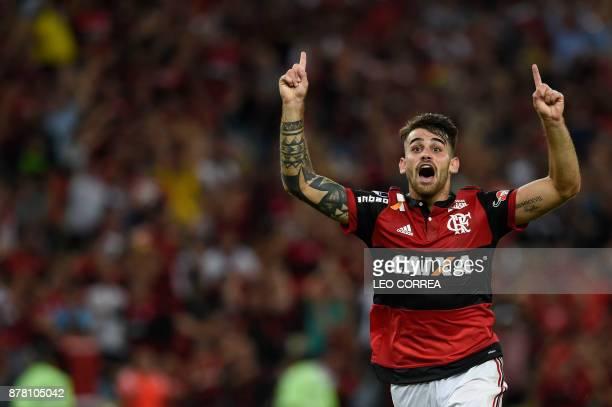 Felipe Vizeu of Brazil's Flamengo celebrates after scoring against Colombia's Junior de Barranquilla during their Copa Sudamericana first leg...