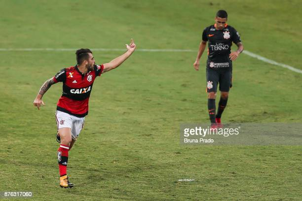 Felipe Vizeu of Flamengo celebrate a scored goal during the Brasileirao Series A 2017 match between Flamengo and Corinthians at Ilha do Urubu Stadium...