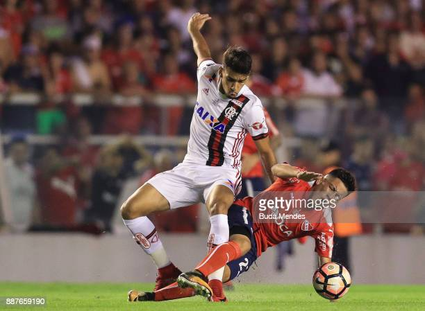 Felipe Vizeu of Flamengo struggles for the ball with of Ezequiel Barco Independiente during the first leg of the Copa Sudamericana 2017 final between...