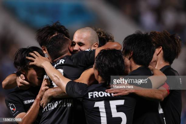 Felipe Vizeu of Yokohama FC celebrates the second goal during the J.League Meiji Yasuda J1 match between Yokohama FC and Gamba Osaka at the NHK...