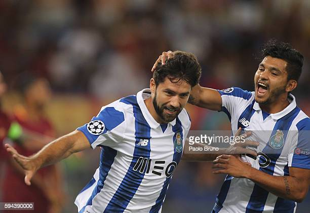 Felipe with his teammates of FC Porto celebrates after scoring the opening goal during the UEFA Champions League qualifying playoff round second leg...