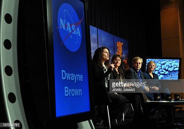 Felisa WolfeSimon lead researcher of NASA astrobiology research fellow smiles during a news conference at the NASA Headquarters in Washington DC on...