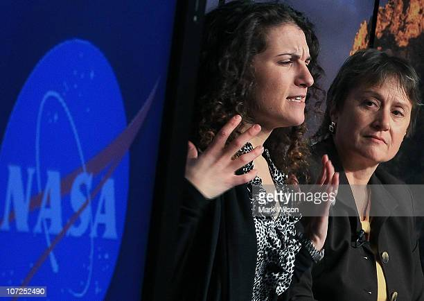 Felisa WolfeSimon NASA astrobiology research fellow speaks while Mary Voytek NASA director Astrobiology Program listens during a news conference at...