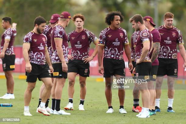 Felise Kaufusi and Kalyn Ponga look on during a Queensland Maroons State of Origin training session at Sanctuary Cove on June 21 2018 in Brisbane...