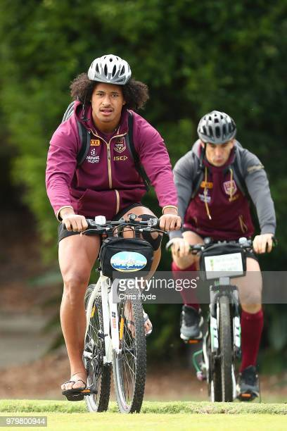 Felise Kaufusi runs the ball during a Queensland Maroons State of Origin training session at Sanctuary Cove on June 21 2018 in Brisbane Australia