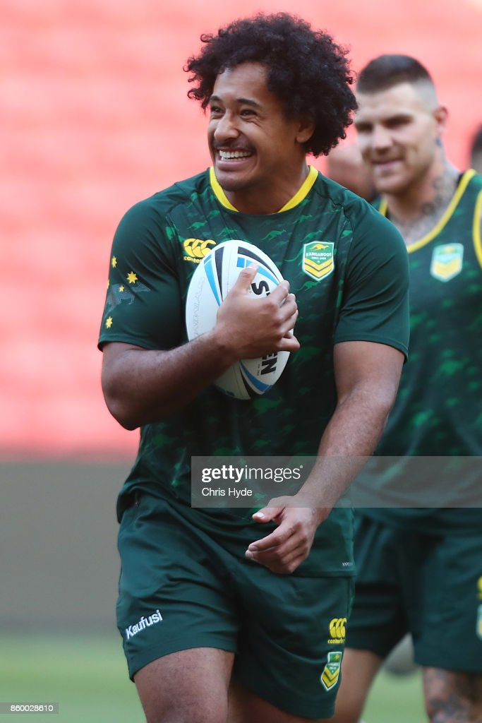 Felise Kaufusi looks on during an Australian Kangaroos Rugby League World Cup training session at Suncorp Stadium on October 11, 2017 in Brisbane, Australia.
