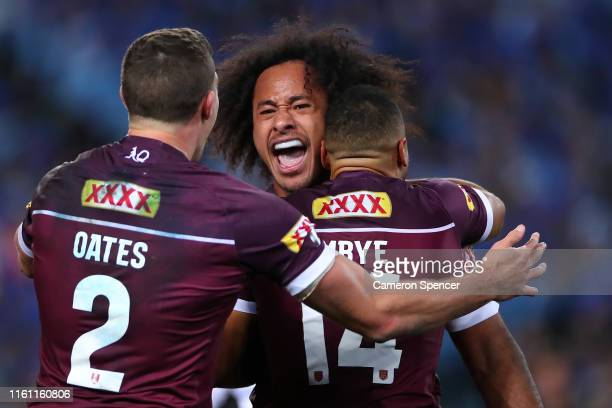Felise Kaufusi of the Maroons celebrates after scoring a try during game three of the 2019 State of Origin series between the New South Wales Blues...